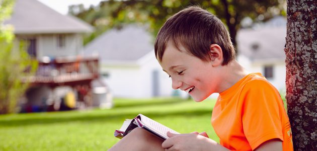 Handsome boy reading a book on a lawn near house
