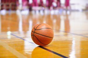 Basketball lying on the floor