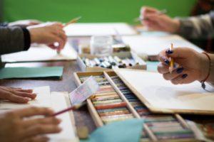 Students in an art class