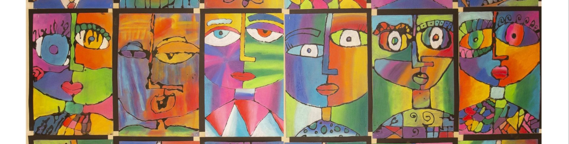 image of various modern are faces in different colors and shapes all patterned into squares on a multicolored art background
